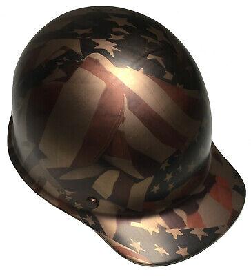 Msa Skullgard Cap - Hard Hat MSA Skullgard Cap Custom Copper Metallic American Flags Satin W/T-Shirt