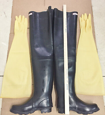 28 in Super Long Shoulder Length Yellow Latex Rubber Safety Gloves Gummihandsch for sale  Shipping to India