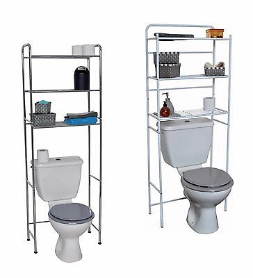 Evideco Over the Toilet Space Saver Cabinet  3 Tier Wire Shelves White or Chrome ()