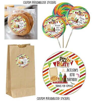 24 Pizza Party Personalize Stickers for Lollipops, goody bag, party favors, 2.25