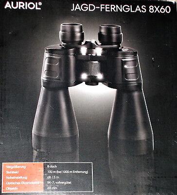 AURIOL Jagd Fernglas 8x60 Vollvergütet inkl.Tasche,Trageriemen,4Schutzkappen NEU Glas 8