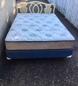 Clean Queen Mattress w/mismatched Boxspring & Frame