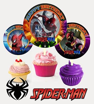 12 Birthday Spiderman Inspired Party Picks, Cupcake Toppers #1 - Spiderman Cupcake Picks