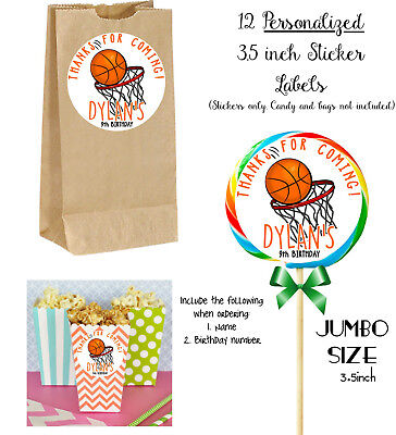 12 Basketball JUMBO Stickers, for Lollipops, goody bags, party favors, Birthday - Basketball Goodie Bags
