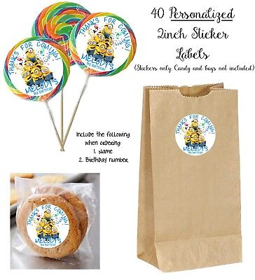 40 MINIONS Personalize STICKER Labels, Lollipops, goody bag, birthday favors (Minion Favors)