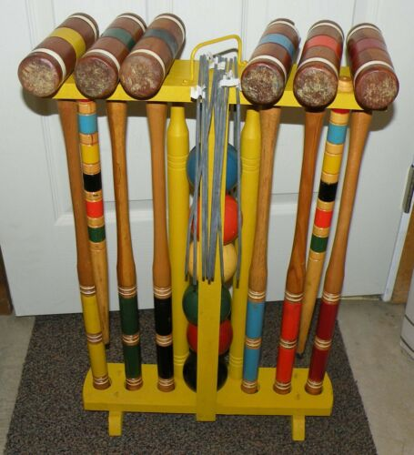 Vintage Collectible Kourt King Croquet Set 6 Mallets Balls Wickets Stakes Rack