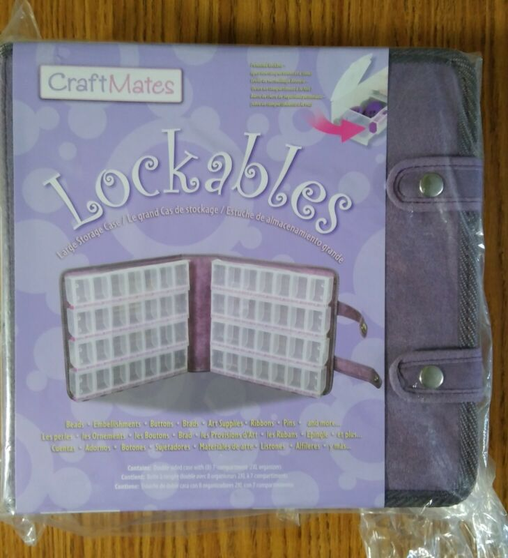 CraftMates Lockables-Large Storage Case with 56 compartments-Purple Ultrasuede