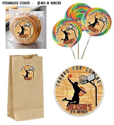 40 Basketball Silhouette Dunk STICKERS for Lollipops, goody bags, birthday party - Basketball Goodie Bags