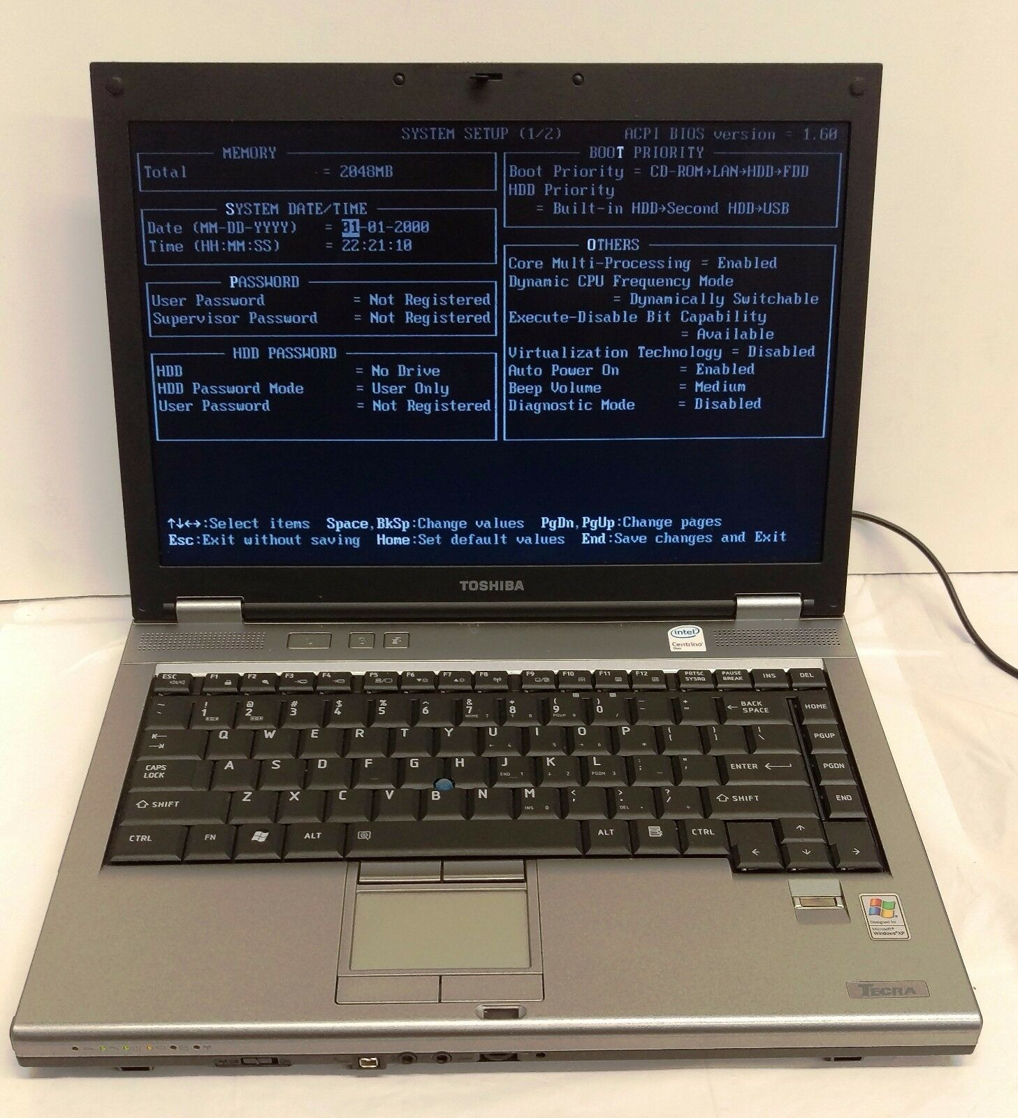 "TOSHIBA TECRA M9 14.1"", 2.0GHZ Core 2 Duo, 2GB RAM, NO HDD"