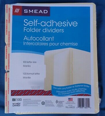 Smead 68021 Self-adhesive Manila Folder Dividers Sealednew Qty 100 Fast Ship
