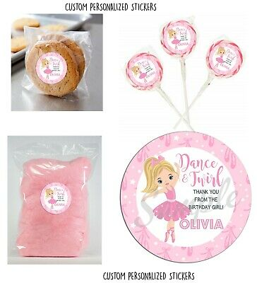 24 Ballerina Blonde dance Stickers for Lollipops, goody bag, party favors, 2.25