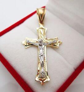 Mens 10k Two Tone Gold Cross Pendant Diamond Cut Gold Crucifix Charm