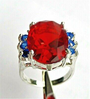 Taille 58_Argent 925 Plaqué_Rubis Rouge_Topaze Bleu_Bague Femme_Silver Ring 8,5