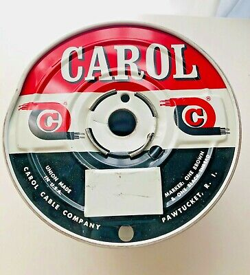Vintage Carol Cable Company Metal Electrical Cable Spool Reel