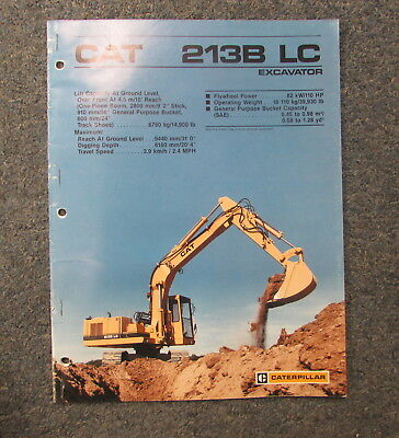Cat Caterpillar 213b Lc Excavator Specifications Brochure Manual 1988 Aehq0410