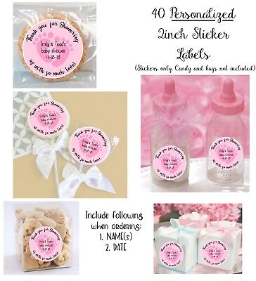 40 PINK foot BABY Shower Personalize STICKERS for Lollipop, bags, boxes, bottles](Boxes For Baby Shower)