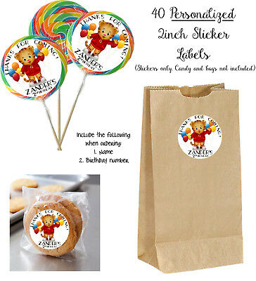 40 DANIEL TIGER Custom Stickers for Lollipops, goody bag, birthday party favors
