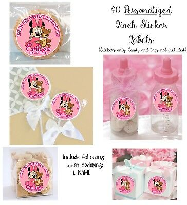 40 Baby Minnie Mouse Shower Personalize STICKERS for Lollipops goody bags favors - Baby Shower Bags