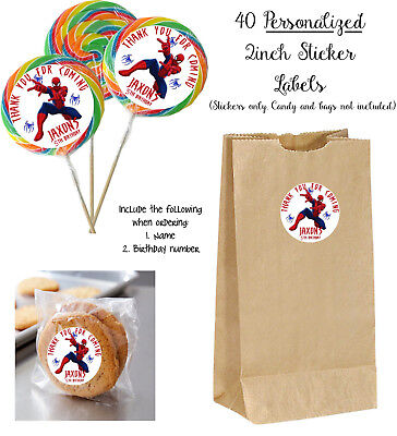 40 SPIDERMAN Personalize STICKERS for Lollipops, goody bag birthday party favors (Spiderman Party Bags)
