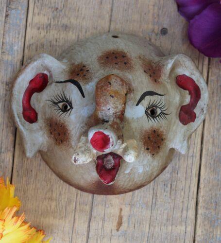 Elephant Decorative Coconut Mask Handmade Hand Painted Guerrero Mexican Folk Art