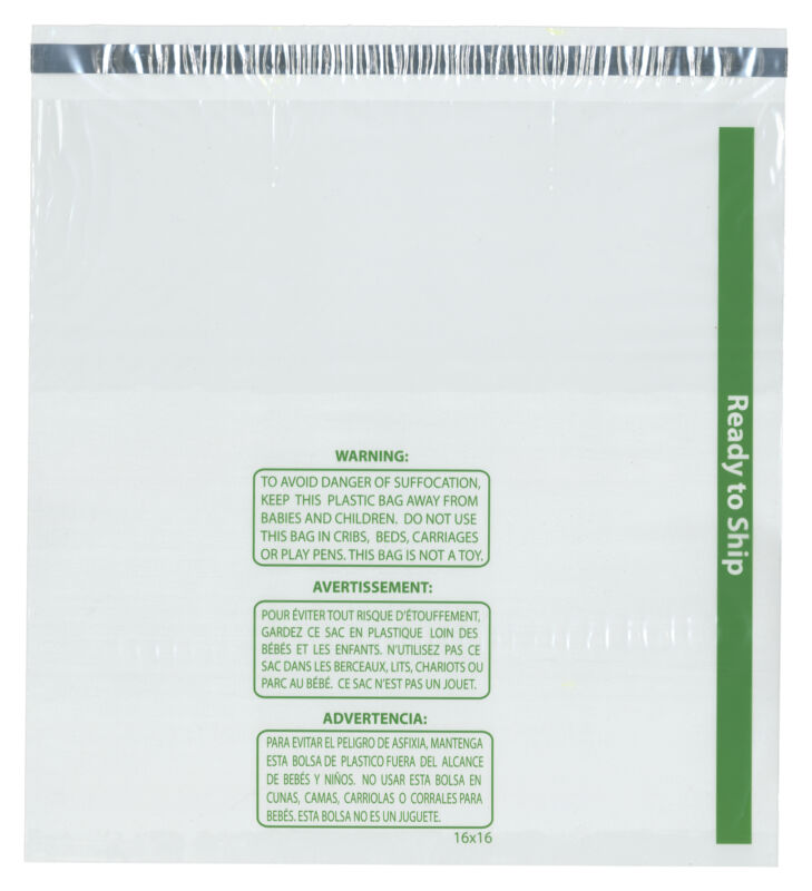 "Plymor Ready to Ship 1.5 Mil Wicketed Plastic Bags, 16"" x 16"" (Pack of 125)"