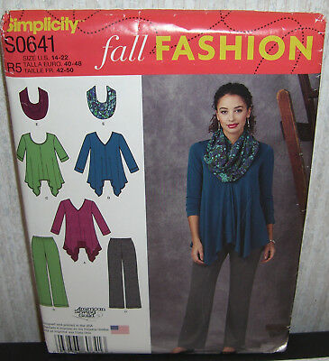 Womens/Misses Tops Tunics Pants Scarf Sewing Pattern/Simplicity S0641/SZ 14-22/N