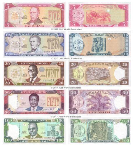 Liberia 5 + 10 + 20 + 50 + 100 Dollars 2011 Set of 5 Banknotes 5 PCS UNC