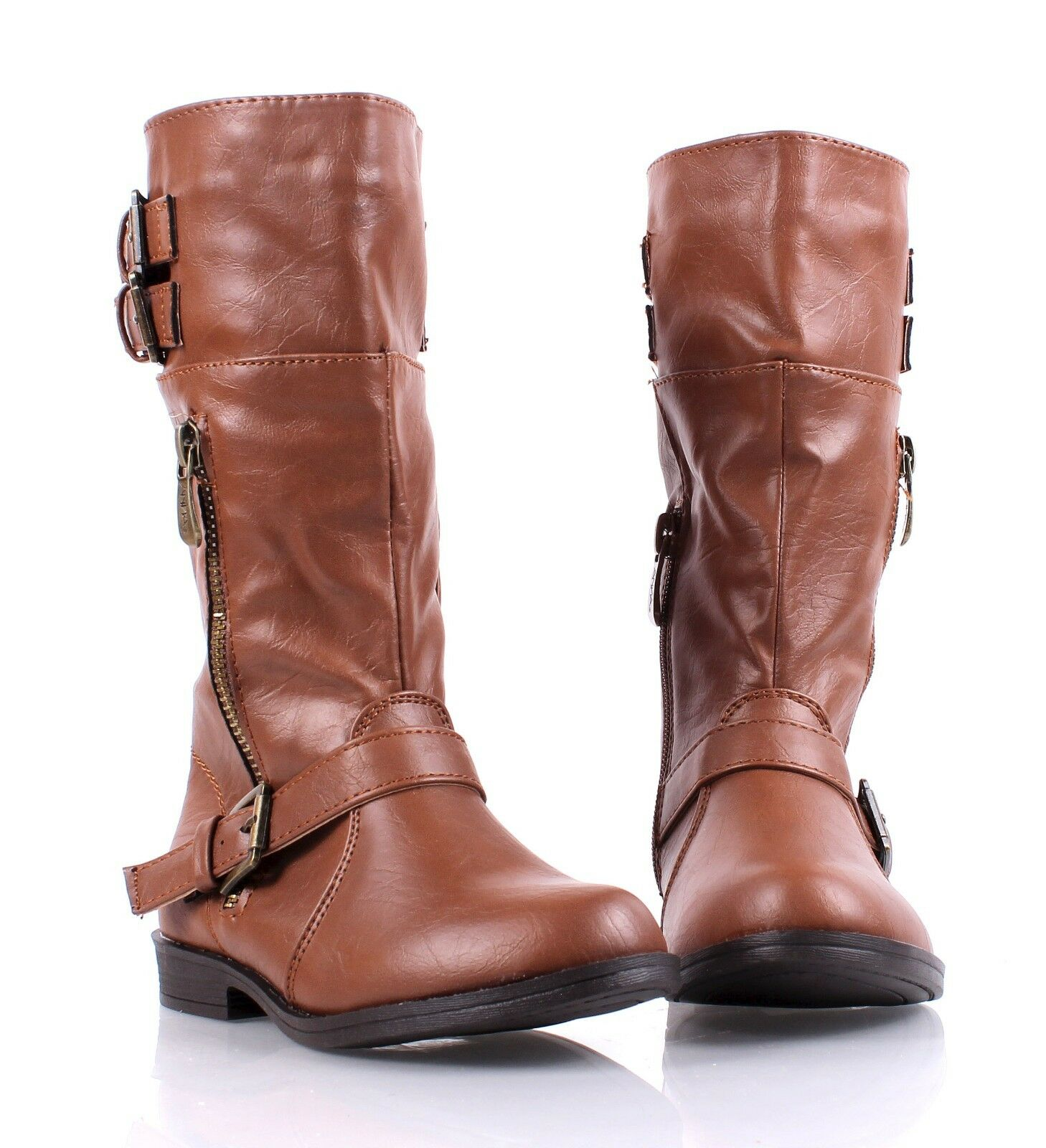 Faux Leather Cute Girls Military Mid Calf Combat Boots ...