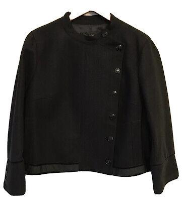 Zara Women Wool Military Navy Black Crop Coat Blazer Jacket Velvet Trim Large