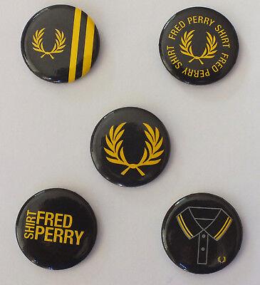 FRED PERRY 5 Pins Buttons Badges - selten - Sammler RAR Collectors