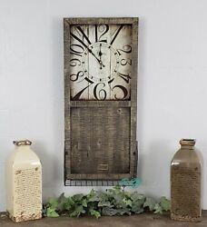 Rustic Modern Farmhouse Distressed Wood Metal Wall Clock  Storage Basket Decor