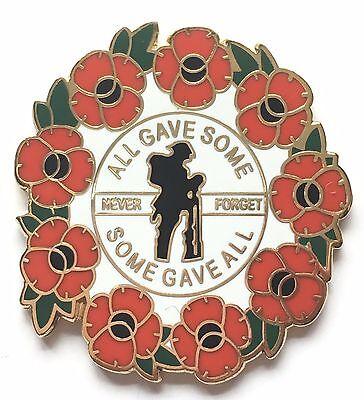 Never Forget Remembrance Poppy Commemorative Enamel Lapel Pin Badge