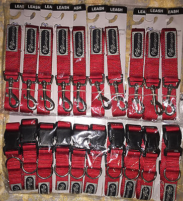 WHOLESALE LOT OF 20 DOG LEASHES AND COLLARS SIZE LARGE RED