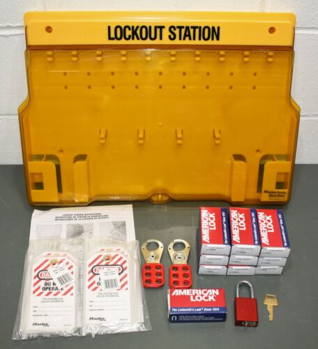 Master Lock Lockout Station 1483BP410, Filled, 36 Components, 10 Padlocks, Tags