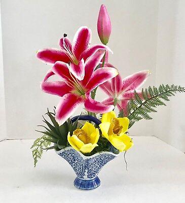 Floral Arrangement Casablanca Lily Silk Flowers in Blue and White Floral Basket - Lily Basket Arrangement
