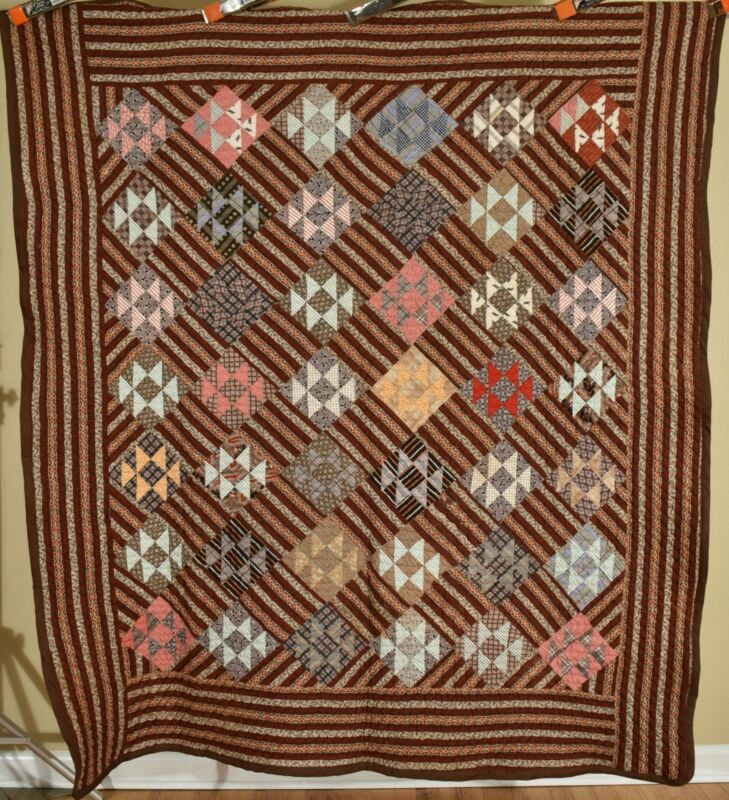 "HANDSOME Vintage 1870s ""Double X"" Antique Quilt ~Early Brown Copper Madder Print"