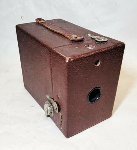 Eastman Kodak vtg RAINBOW HAWK-EYE Box Camera DARK MAROON Red No 2 Model C