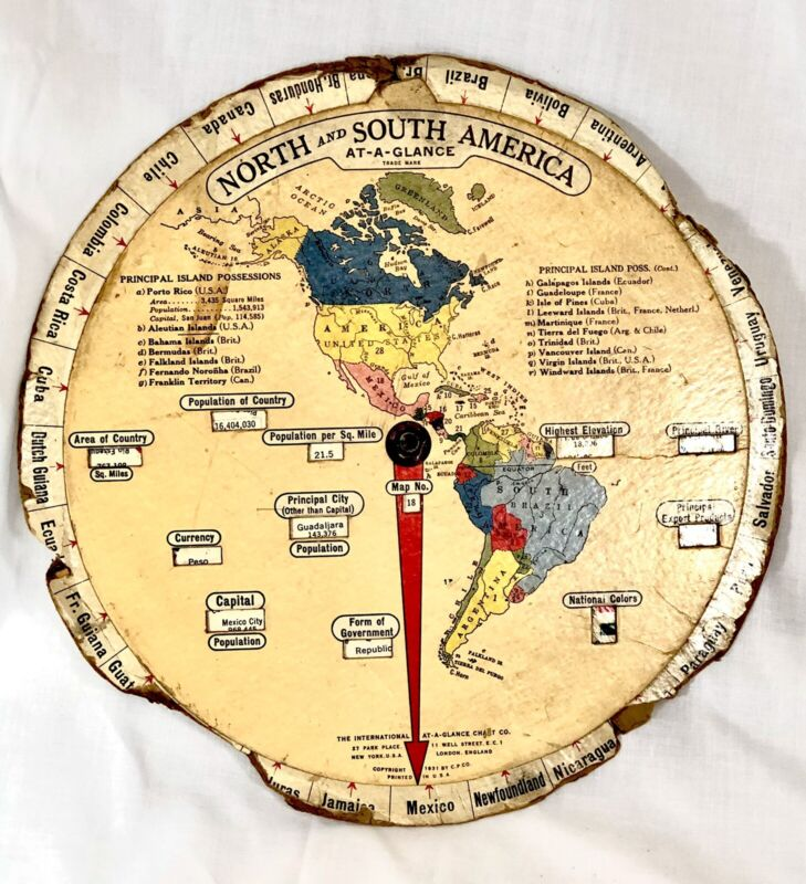North and South America At-A-Glance Map Info Reel International Chart Co. 1931