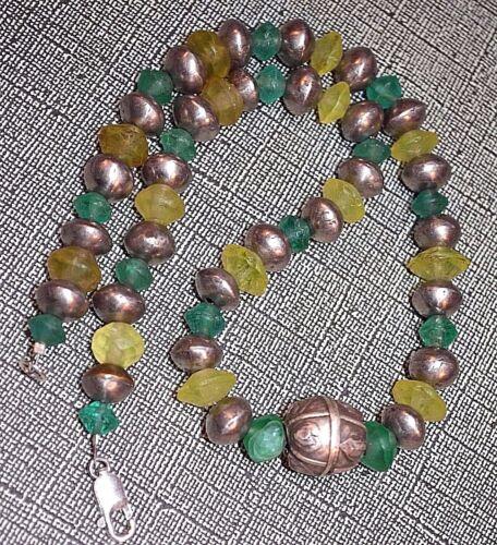 Antique Yemen Ethnic Silver Beads Necklace Antique European Vaseline Glass Beads
