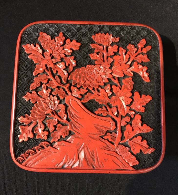 Chinese Cinnabar Carved Box