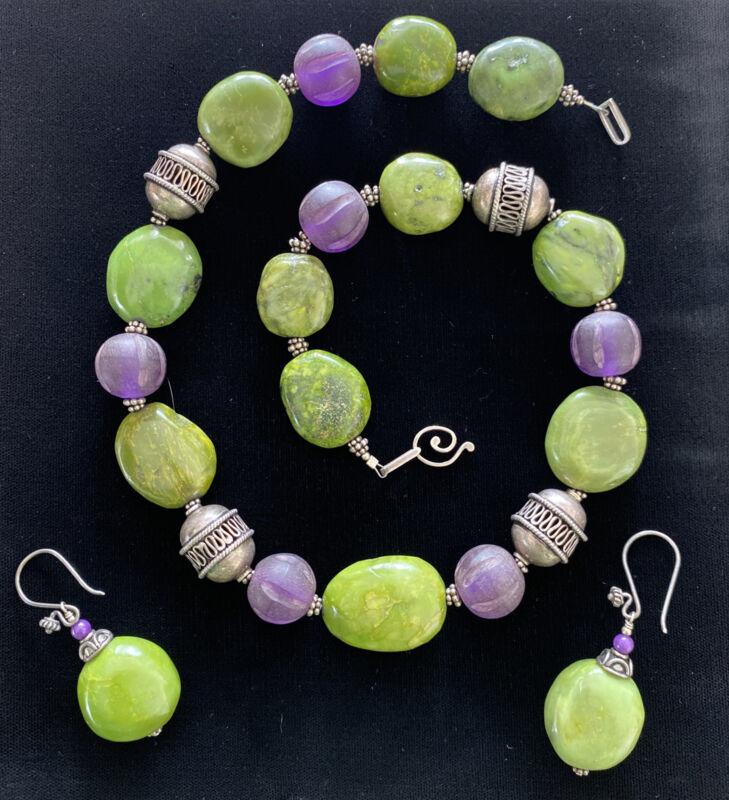 VINTAGE STERLING SILVER CONNEMARA MARBLE AMETHYST GLASS BEAD NECKLACE & EARRINGS