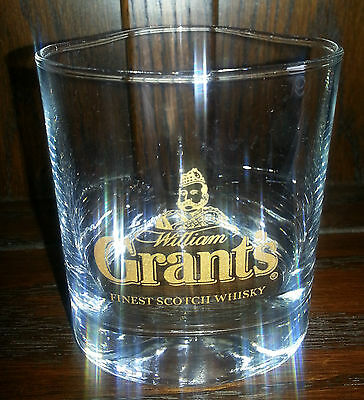 VINTAGE GRANTS 3 SIDED  SCOTCH WHISKEY TUMBLER GLASS  RETRO HOME BAR - FREE POST