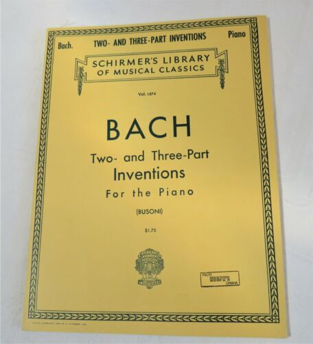 Bach Two & Three Part Inventions Edited by Busoni Schirmer NEW Piano Songbook