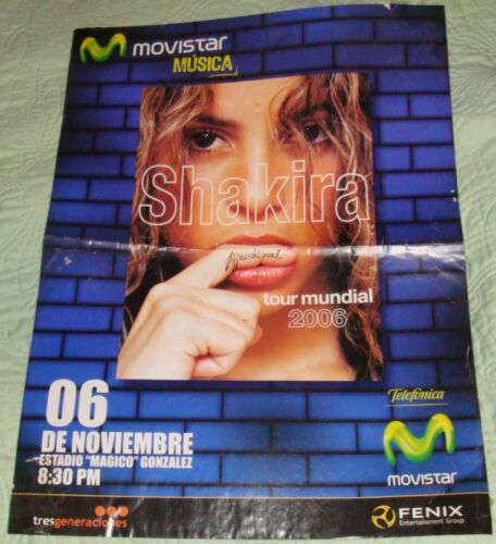 2006 Shakira World Tour El Salvador Concert Poster
