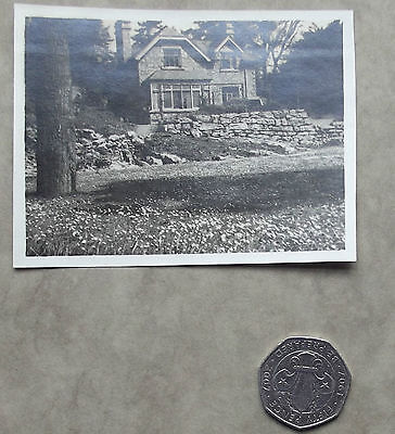 Vintage pre-war photograph of old gabled house Black and white