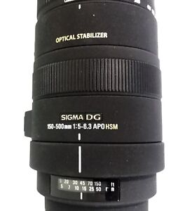 SIGMA 150-500MM 1:5-6.3 APO HSM  Optical  stabilizer for Canon