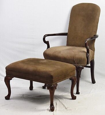 (Old Hickory Tannery Mahogany Chair with Ottaman Tan Leather Fabric Nailhead Trim)