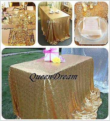GRAND GOLD 60x102 Rectangle Wedding Table Linen Cloth Fabric SEQUIN TABLECLOTH