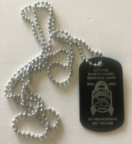 """NYPD ESU 20 YEAR MEMORIAM  WTC 9/11 DOG TAG WITH 30"""" CHAIN * LAST ONES *"""