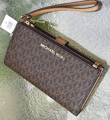 Michael Kors Brown MK Signature  Jet Set Double Zip Phone Case Wallet Wristlet